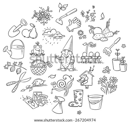 set of cartoon gardening tools