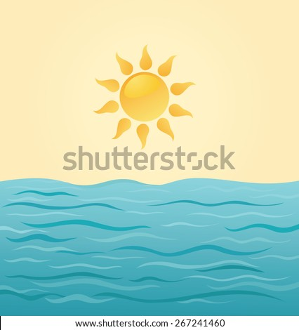 sun and sea water  vector