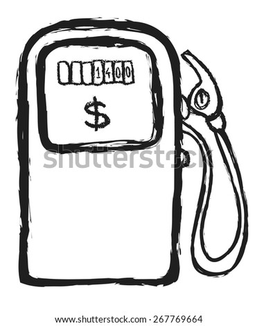 doodle gas station  vector