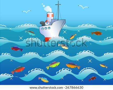 the ship sails on the sea