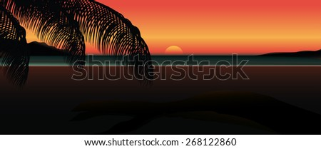 panorama tropical sunrise at