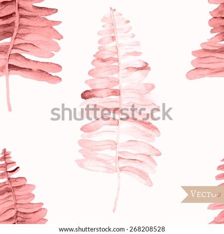 watercolor vector seamless fern