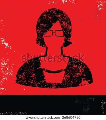 woman design on red background