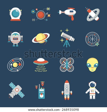 fiction icon set with aliens