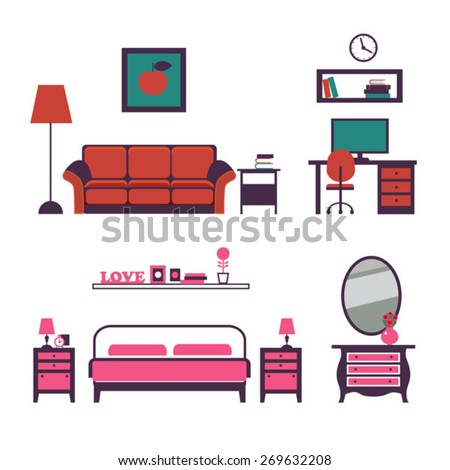 vector set of furniture for