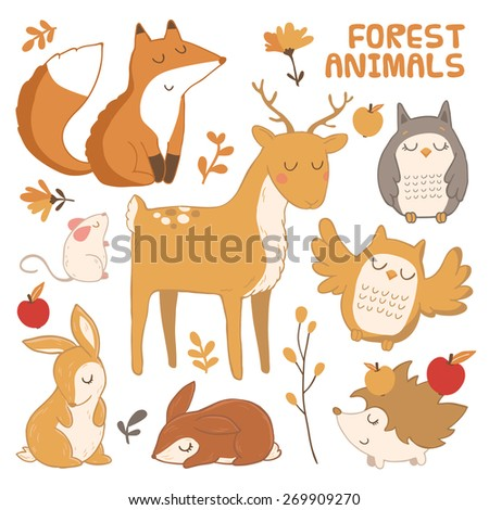 vector set with cute forest