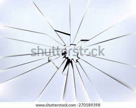 realistic broken window's glass