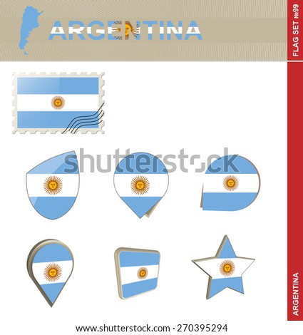 argentina flag set  flag set