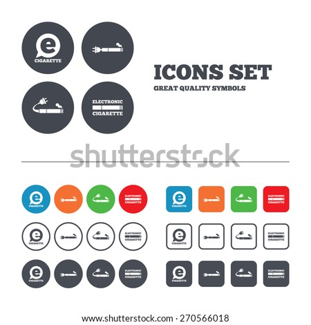 e cigarette with plug icons