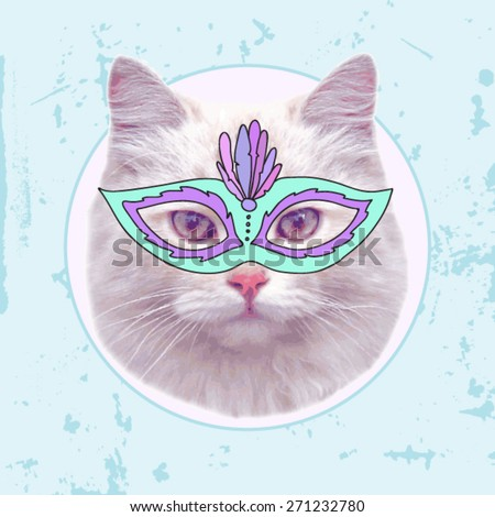 vector vintage cat with
