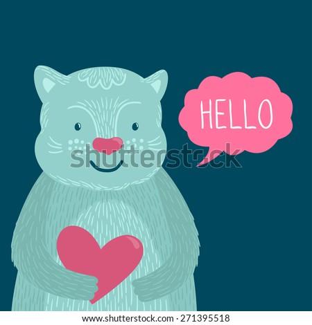 vector illustration of cute cat