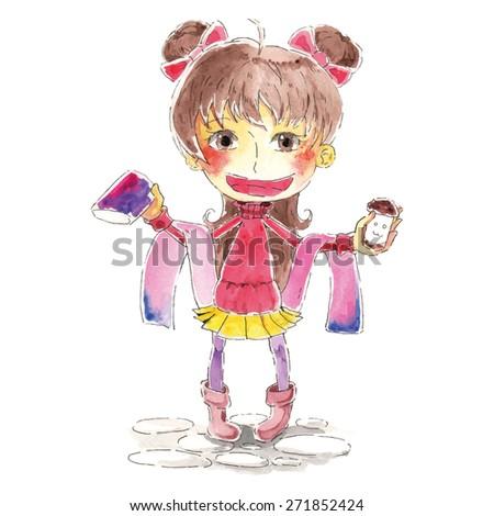 girl watercolor character
