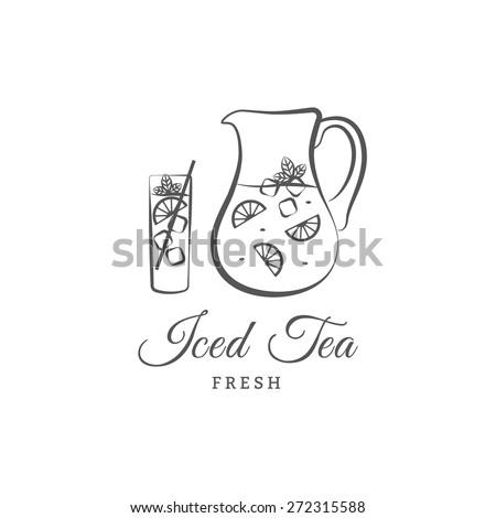 iced tea vector logo or sign