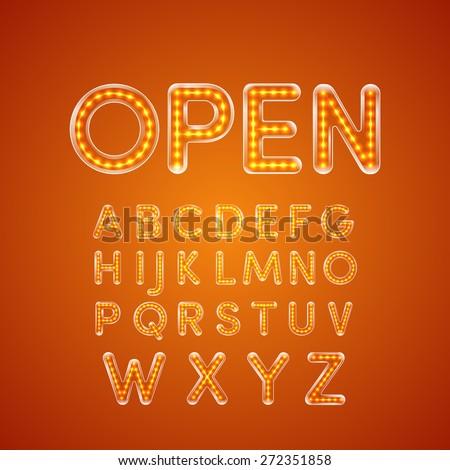 led glowing font illuminated