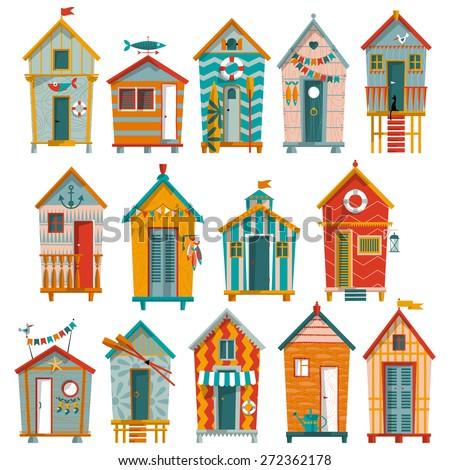 14 various multi colored beach