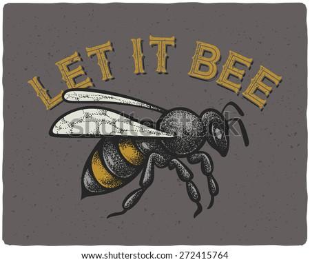 bee vector engraving