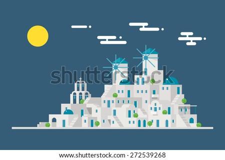 santorini cityscape windmill