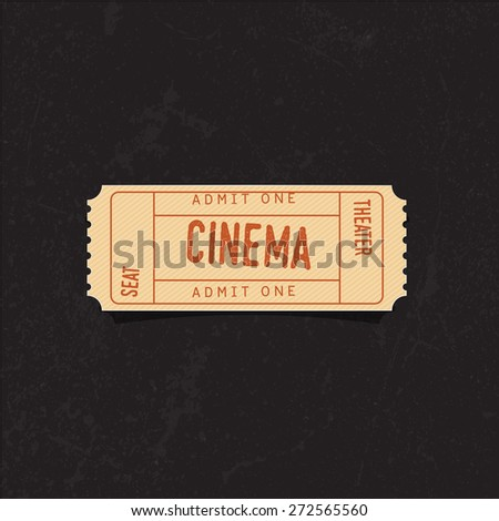 vintage cinema ticket over