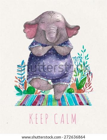 vector cute elephant practicing
