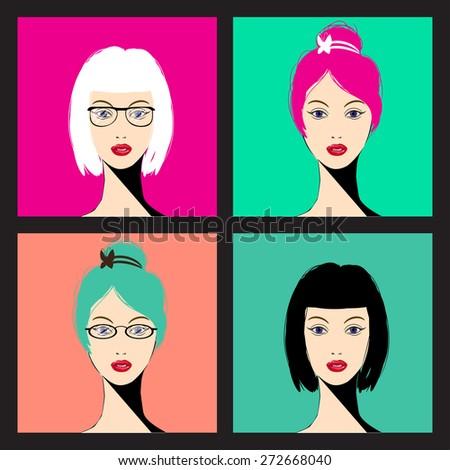 woman faces   vector