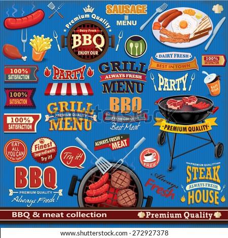 vintage bbq meat poster design