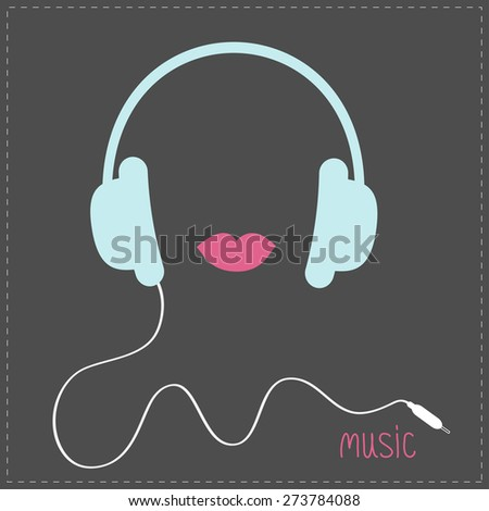 blue headphones with cord pink