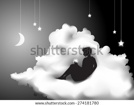 girl sitting on the cloud and