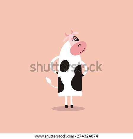 funny cow vector cartoon