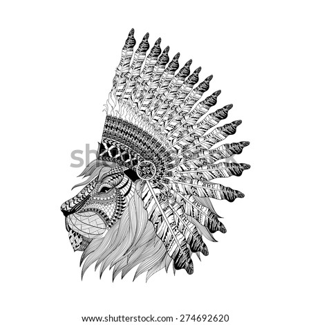 lion face in feathered war