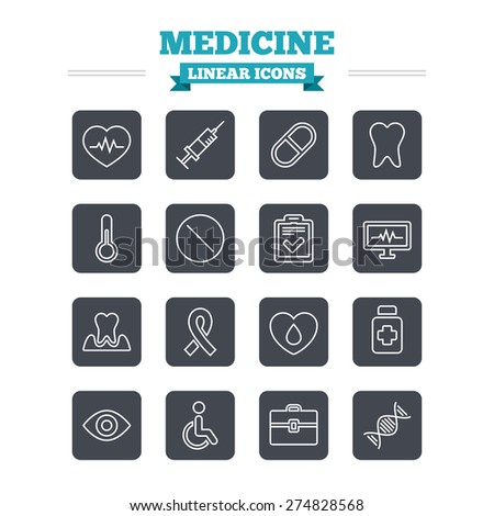medicine linear icons set