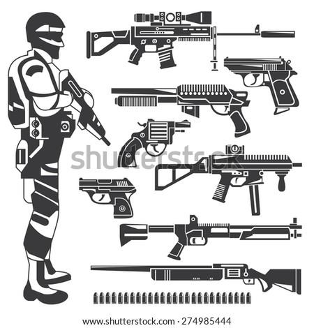 soldier  policeman  gun icons