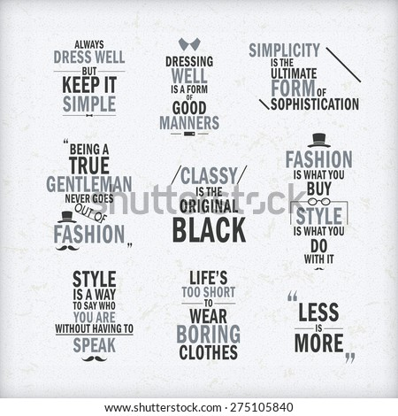 fashion attitude quotes set
