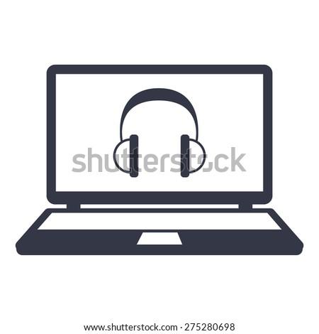 vector headphones icon on the