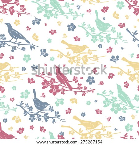 birds and twigs seamless
