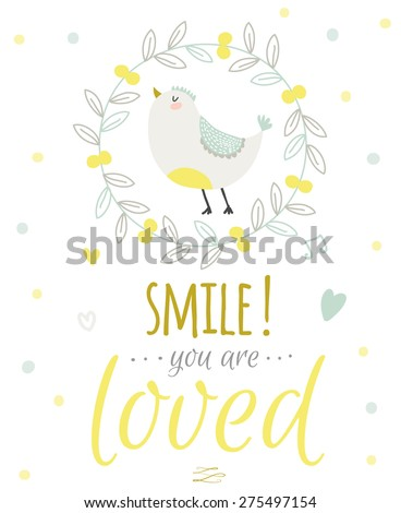 greeting card with cute and