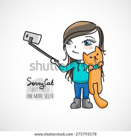 girl doing selfie with cat