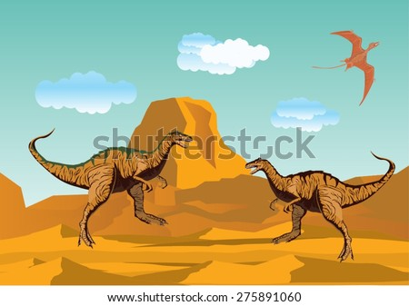 2 tiranosaurus in desert