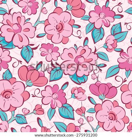 vector pink blue kimono flowers