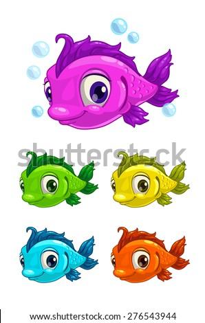 cartoon cute fish  different