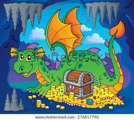 dragon with treasure theme