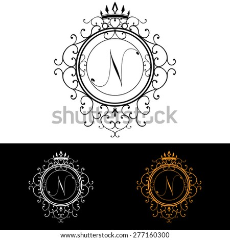 letter n luxury logo template