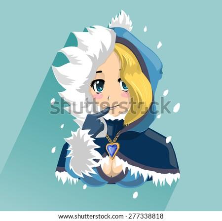 blond girl in a fluffy hood