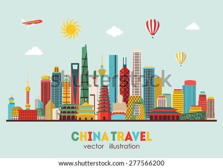 china detailed skyline vector