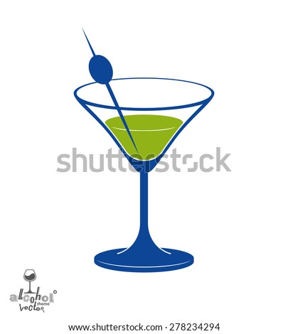 martini glass with olive berry