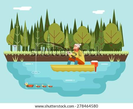 fisherman with fishing rod boat