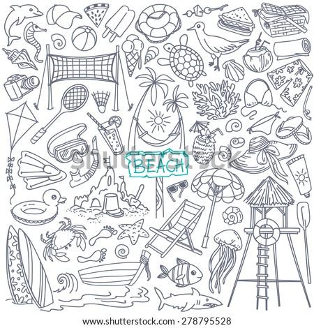 beach theme doodle set various