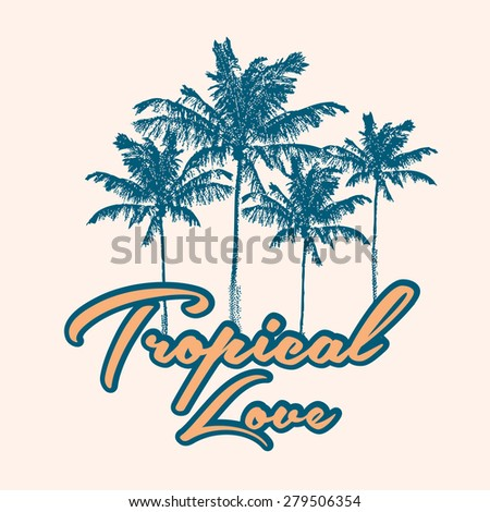tropical print with palm tree
