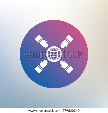 hands reach for earth sign icon