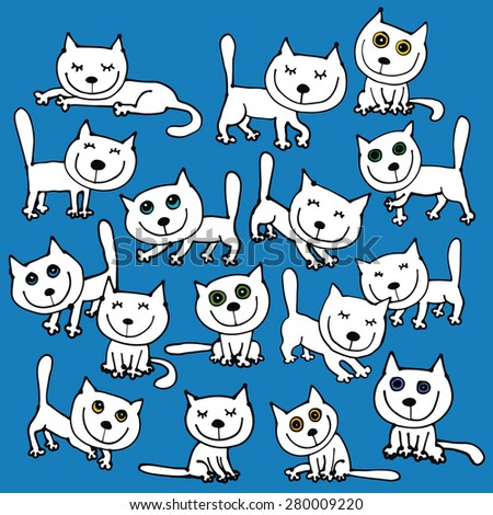 16 vector white funny cats