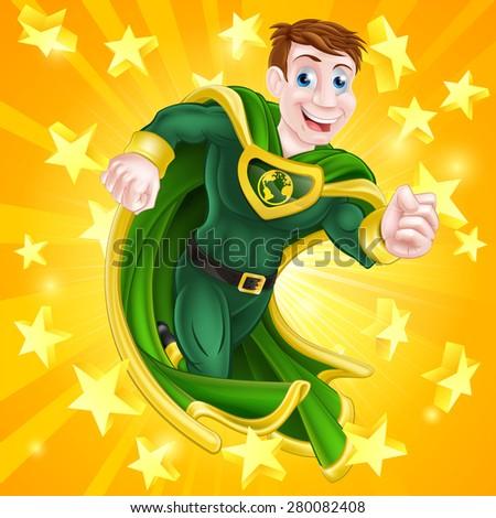 a cartoon super hero man with a
